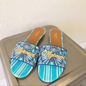 ▪️Aquazzura▪️Mykonos Shell-Print Slide Sandals
